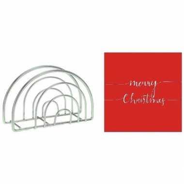 Kerstmis tafelversiering houder met rode servetten kopen