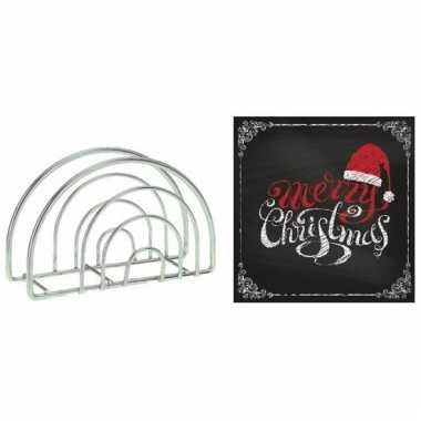 Kerstmis tafelversiering houder met zwarte servetten kopen