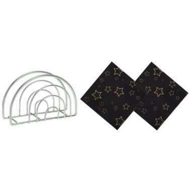Kerstmis tafelversiering houder met zwarte sterren servetten kopen