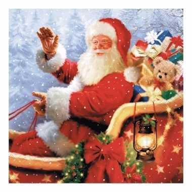 Kerstversiering servetten met kerstman kopen
