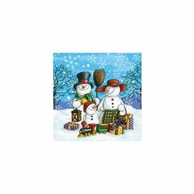 Kerstversiering servetten met sneeuwpop kopen