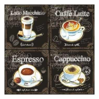 Lunch servetten koffie thema 3-laags 20 stuks kopen
