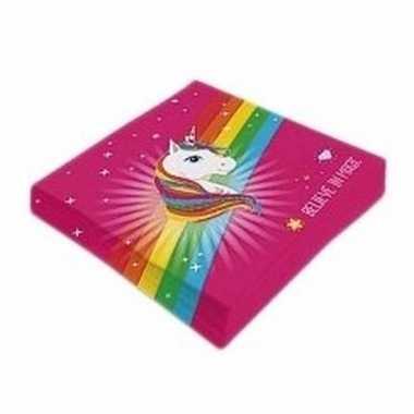 Lunchservetten regenboog eenhoorn roze 20x type 1 hoofd