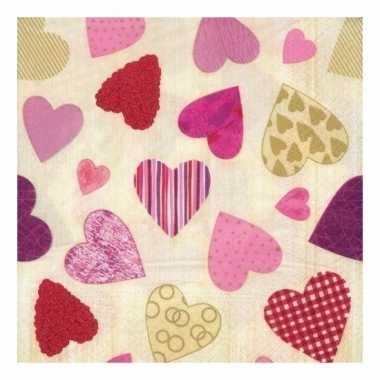 Luxe hartjes servetten van 33 x 33 cm kopen