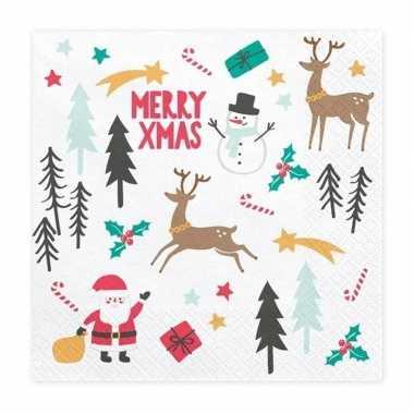 Merry x-mas kerst servetten 20 stuks 33 cm kopen