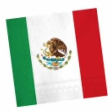 Mexicaanse vlag servetten 20 stuks kopen