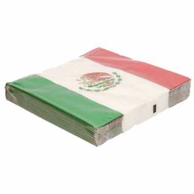 Mexicaanse vlag servetten 40 stuks