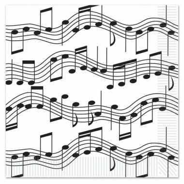 Muziek thema servetten 16 stuks