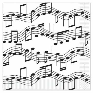 Muziek thema servetten 16 stuks kopen