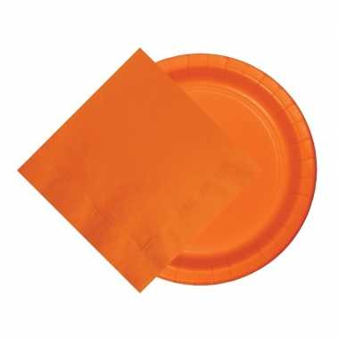 Oranje thema tafel versiering pakket 8 borden 20 servetten
