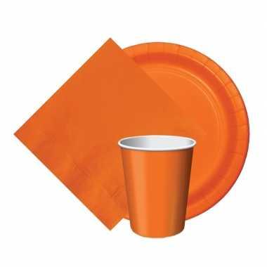 Oranje thema tafel versiering pakket bekers/borden/servetten ek/bevri