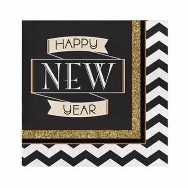 Oud en nieuw servetten happy new year 16 stuks kopen