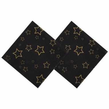 Oud en nieuw servetten met gouden sterren 25 x 25 cm kopen