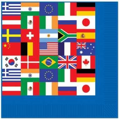 Papieren servetten met wereld vlaggen kopen