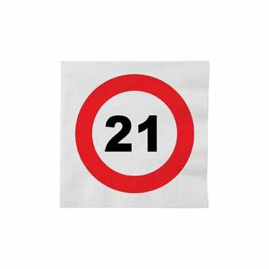 Papieren stopbord servetten 21 jaar 10137861