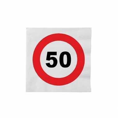 Papieren stopbord servetten 50 jaar kopen