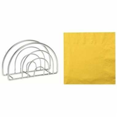 Pasen tafelversiering houder met gele servetten