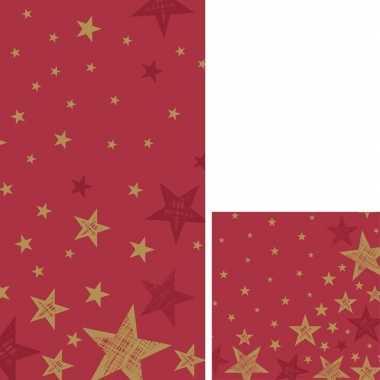 Rode/gouden kerst thema feest servetjes en tafellakens/tafelkleden ko
