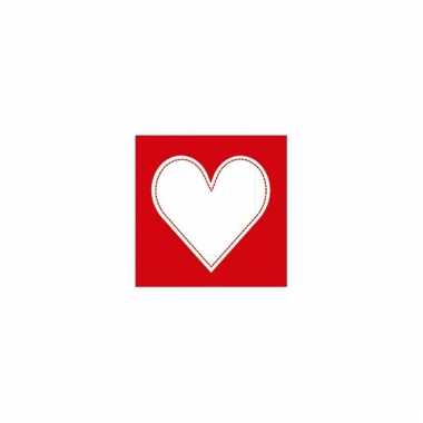 Rode servetten met hart 20 stuks