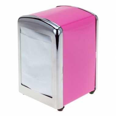 Roze servettendispenser 14 cm