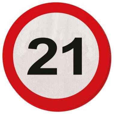 Servetjes 21 jaar verkeersbord kopen