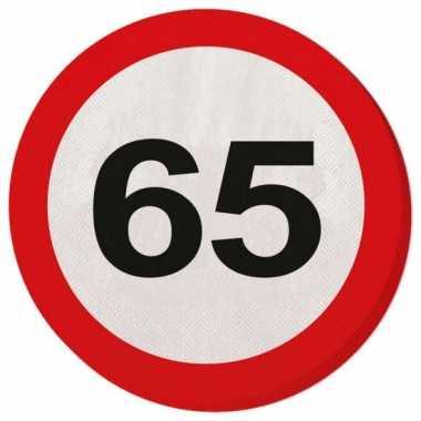 Servetjes 65 jaar verkeersbord kopen