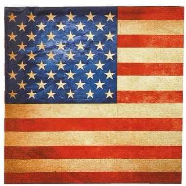 Servetten amerikaanse vlag 20 stuks kopen