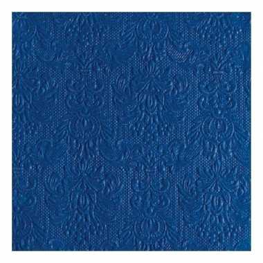 Servetten blauwe barok 3 laags 15 stuks