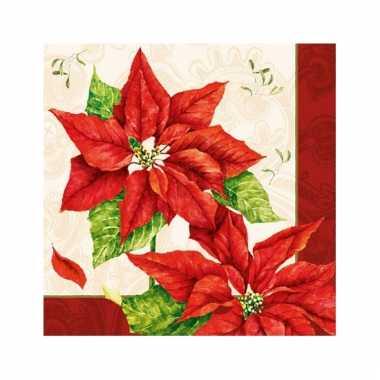 Servetten met kerstbloemen print 33x33 cm kopen