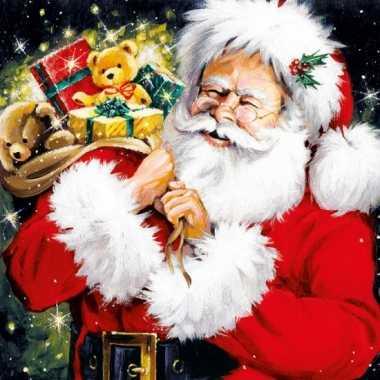 Servetten met kerstman print 33x33 cm kopen