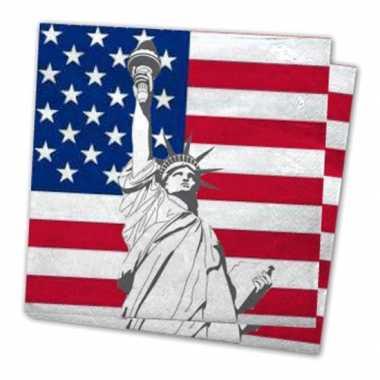 Servetten met vlag van verenigde staten 40x stuks kopen