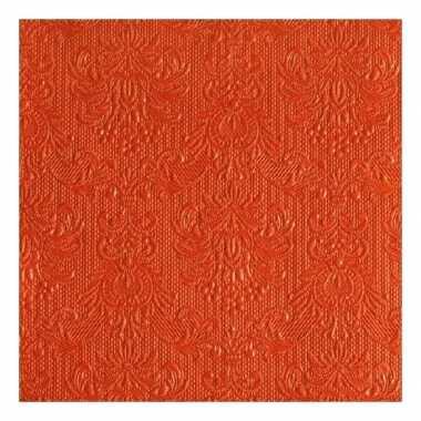 Servetten oranje barok 3-laags 15 stuks kopen