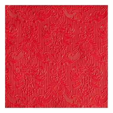 Servetten rood barok 3-laags 15 stuks kopen