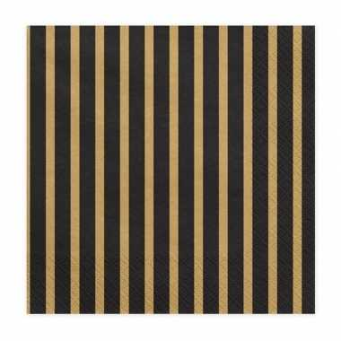 Servetten zwart/goud 80 stuks 33 cm kopen
