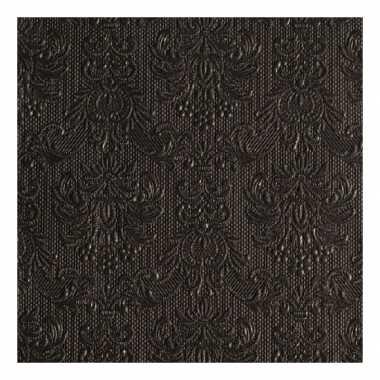 Servetten zwarte barok 3-laags 15 stuks kopen
