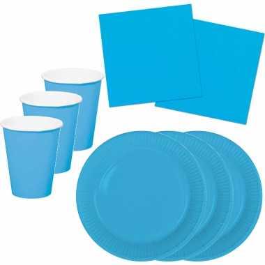 Tafel dekken feestartikelen kleur blauw 32x bordjes/32x drink bekers/40x servetten kopen