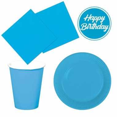 Tafel dekken feestartikelen kleur blauw 40x bordjes/40x drink bekers/40x servetten kopen