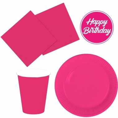 Tafel dekken feestartikelen kleur fuchsia roze 32x bordjes/32x drink bekers/40x servetten kopen