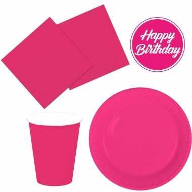 Tafel dekken feestartikelen kleur fuchsia roze 40x bordjes/40x drink bekers/40x servetten kopen