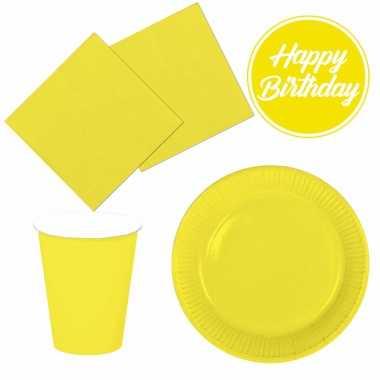 Tafel dekken feestartikelen kleur geel 40x bordjes/40x drink bekers/40x servetten kopen