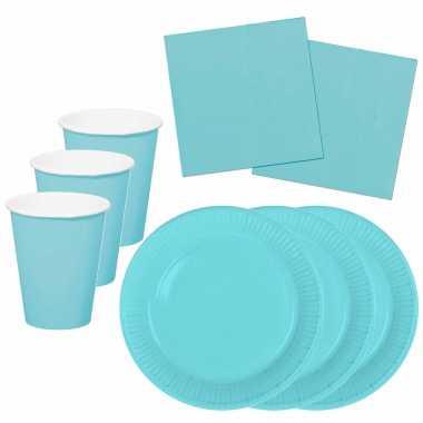 Tafel dekken feestartikelen kleur lichtblauw 32x bordjes/32x drink bekers/40x servetten kopen