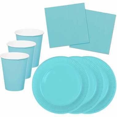 Tafel dekken feestartikelen kleur lichtblauw 40x bordjes/40x drink bekers/60x servetten kopen