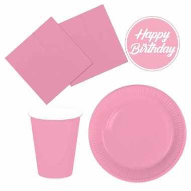 Tafel dekken feestartikelen kleur lichtroze 32x bordjes/32x drink bekers/40x servetten kopen