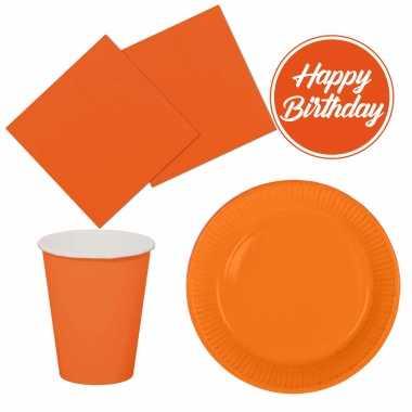 Tafel dekken feestartikelen kleur oranje 32x bordjes/32x drink bekers/40x servetten kopen