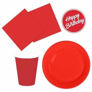 Tafel dekken feestartikelen kleur rood 32x bordjes/32x drink bekers/40x servetten kopen