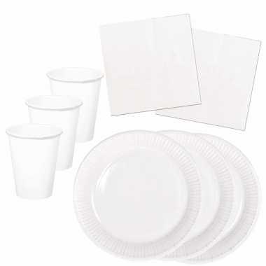 Tafel dekken feestartikelen kleur wit 32x bordjes/32x drink bekers/40x servetten kopen