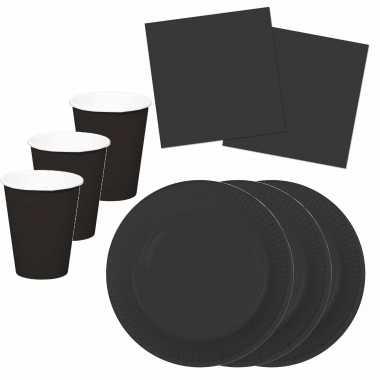 Tafel dekken feestartikelen kleur zwart 24x bordjes/24x drink bekers/40x servetten kopen