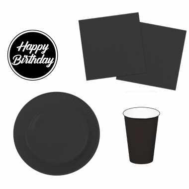 Tafel dekken feestartikelen kleur zwart 40x bordjes/40x drink bekers/40x servetten en viltjes kopen