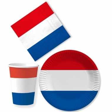 Tafel dekken holland feestartikelen rood wit blauw 10x bordjes/10x drink bekers/20x servetten kopen