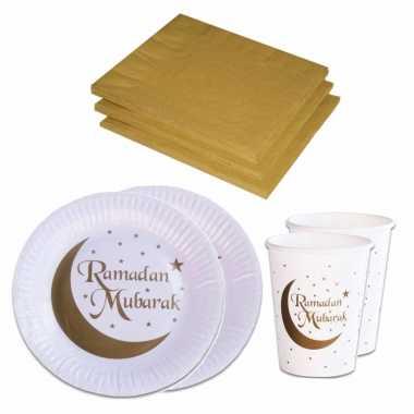Tafel dekken ramadan mubarak feestartikelen wit/goud 16x bordjes/16x drink bekers/20x servetten kopen